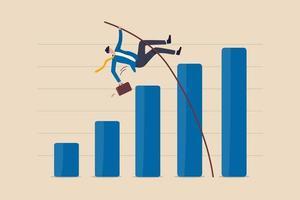crescita aziendale, miglioramento o aumento percentuale elevato di guadagni e profitti, risultati finanziari dopo il concetto di ripresa economica vettore