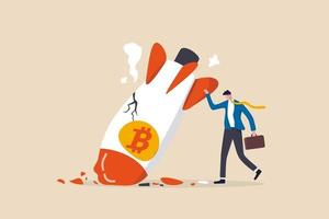 crollo del prezzo del bitcoin, prezzo della volatilità della criptovaluta che ruggisce velocemente e cade causando un enorme concetto di perdita per gli investitori vettore