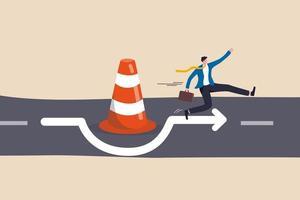 superare l'ostacolo aziendale, il blocco, lo sforzo per sfondare il blocco stradale, la soluzione per risolvere il concetto di problema aziendale vettore