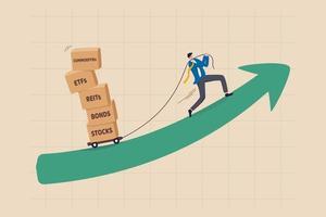 beni di investimento o prodotti finanziari per diversificare il portafoglio, la gestione patrimoniale e il concetto di asset allocation vettore