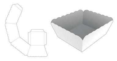 modello fustellato vassoio bordo curvo vettore