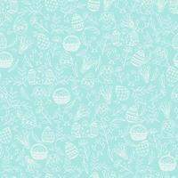 Pasqua seamless pattern con simboli pasquali nello stile di abbozzo. layout per le vacanze. il modello senza cuciture può essere utilizzato per riempimenti a motivo, carta da parati, sfondo della pagina web, trame di superficie. vettore
