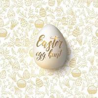 uovo di Pasqua con scritte alla moda fatte a mano caccia all'uovo di Pasqua sul modello senza cuciture con simboli pasquali dorati nello stile di abbozzo. per banner, flyer, brochure. oggetto per vacanze, cartoline, siti web vettore