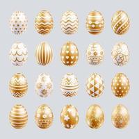 le uova di Pasqua hanno impostato il colore oro con texture diverse e modelli. illustrazioni vettoriali. vettore