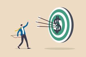 obiettivo finanziario, valore affare o investimento di selezione di titoli di crescita rendono il concetto di profitto vettore