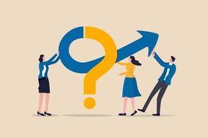 lavoro di squadra per risolvere problemi aziendali, cooperazione o collaborazione in azienda per raggiungere il concetto di successo aziendale vettore
