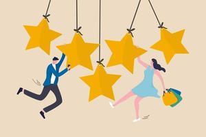 valutazione dell'esperienza del cliente, feedback sull'esperienza dell'utente o valutazione a stelle della recensione sul concetto di prodotto e servizio vettore