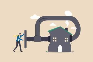 rifinanziare il mutuo immobiliare, ridurre i costi e il pagamento degli interessi, gestire il budget per pagare il miglior concetto di affare casa vettore