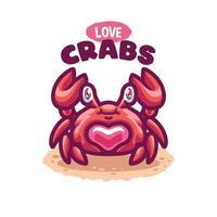 fumetto di creatura del mare di granchio vettore