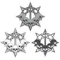 disegno vettoriale di teschi con spada e stella, in scala di grigi