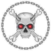 illustrazione del cranio con osso e catena vettore