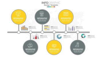 Infograph 6 step elemento di colore giallo con diagramma grafico a cerchio, design grafico aziendale. vettore