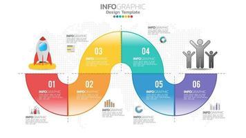 infograph 6 passaggi elemento cerchio con numero e diagramma grafico, design grafico aziendale. vettore