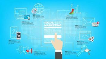 marketing via email. concetto di internet tecnologia di comunicazione, messaggio e media e web vettore
