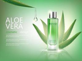 mockup cosmetico di aloe vera bottiglia vettoriale su sfondo verde, con il tuo marchio, pronto per la stampa di annunci o il design di una rivista. trasparente e brillante, stile 3d realistico