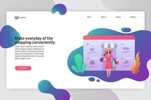 pagina di destinazione web moderno design piatto o modello di banner per lo shopping online vettore