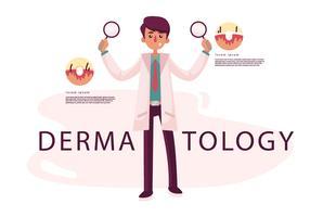 Dermatologia Medico Vector Character Illustration