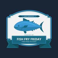 Logo dettagliato del pesce fritto di venerdì vettore