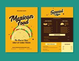 Vettore del menu dell'alimento messicano