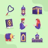 eid mubarak con set di icone semplici vettore