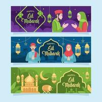 felice eid mubarak saluto banner vettore