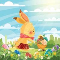 coniglietto simpatico cartone animato che consegna le uova di Pasqua vettore