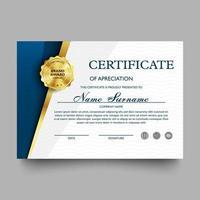 certificato di modello di apprezzamento con modello moderno e di lusso, diploma, illustrazione vettoriale