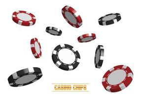 Fiches da poker del casinò 3D isolati su sfondo bianco, illustrazione vettoriale