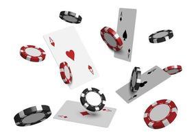 Carte da poker del casinò 3D e fiches da gioco isolati su sfondo bianco, illustrazione vettoriale