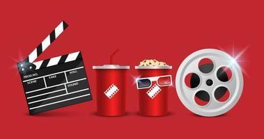concetto di sfondo del cinema, oggetto del cinema isolato su sfondo rosso, illustrazione vettoriale