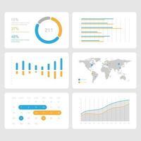 schermo virtuale che mostra il cruscotto grafico delle statistiche di analisi dei dati, modello di presentazione, illustrazione vettoriale