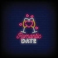 data romantica insegne al neon stile testo vettoriale