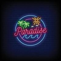 vettore del testo di stile delle insegne al neon del logo del paradiso