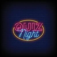 quiz night design insegne al neon stile testo vettoriale