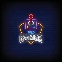 pro gamer design insegne al neon stile testo vettoriale