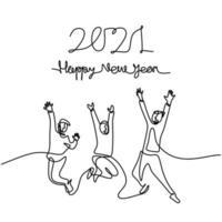 uomini e donne felici accolgono il nuovo anno continuo un disegno a tratteggio. maschio e femmina nel concetto di festa di Capodanno isolato su sfondo bianco. celebrare il nuovo anno 2021. illustrazione vettoriale