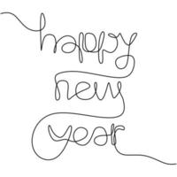 felice anno nuovo iscrizione scritta a mano un testo di disegno a tratteggio continuo per la progettazione di biglietti di auguri. anno del toro, bue. Capodanno cinese. celebrazione concetto di festa. stile minimalista vettoriale