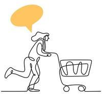 una linea continua che disegna giovani donne felici che fanno compere insieme al supermercato e spingono il carrello. fare la spesa nel mercato per le necessità quotidiane. concetto di spesa mensile. illustrazione di disegno vettoriale