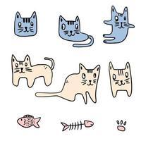 set di diversi gatti del fumetto di posa. personaggio buffo animale gattino. illustrazione vettoriale isolato su sfondo bianco. buono per design, cartoline, copertine, stampe, abbigliamento, tessuti, carta da parati.