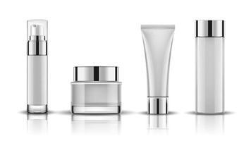 bianco del mockup di confezionamento di flaconi per la cosmetica, pronto per la progettazione, illustrazione vettoriale. vettore