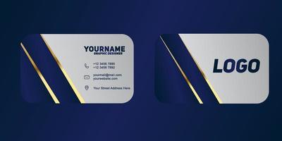 lusso e moderno. modello di biglietto da visita di vettore. design blu scuro e color oro vettore