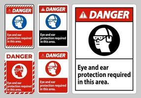 segnale di pericolo protezione per occhi e orecchie necessaria in quest'area vettore
