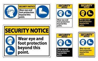 cartello di avviso di sicurezza indossare una protezione per gli occhi e per i piedi oltre questo punto con simboli ppe vettore