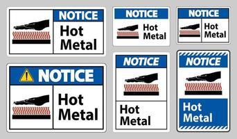 avviso segno simbolo di metallo caldo isolato su priorità bassa bianca vettore