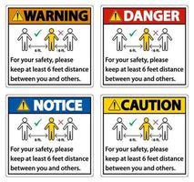 mantenere una distanza di 6 piedi, per motivi di sicurezza, mantenere una distanza di almeno 6 piedi tra te e gli altri. vettore