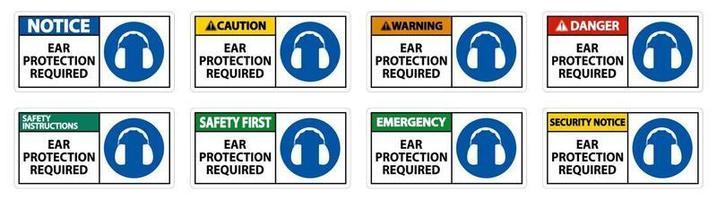 protezione per le orecchie richiesta segno simbolo isolare su sfondo trasparente, illustrazione vettoriale