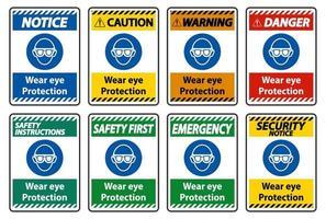 indossare una protezione per gli occhi su sfondo bianco vettore