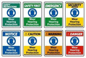 indossare il segno di protezione dell'udito su sfondo bianco vettore