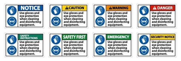 utilizzare guanti e segno di protezione per gli occhi su sfondo bianco vettore