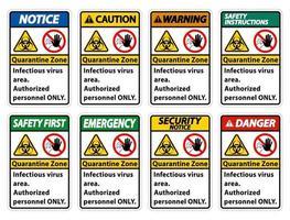segno di quarantena virus infettivo area su sfondo bianco vettore